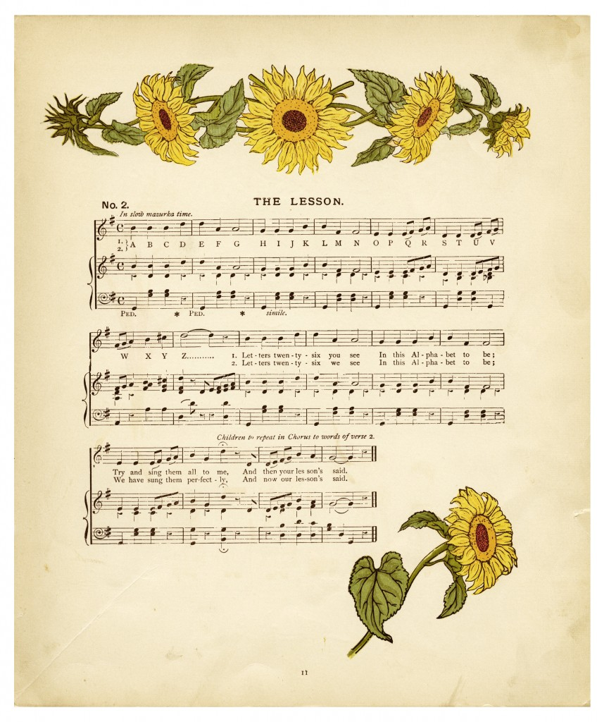 Vintage Sheet Music And Sunflowers Old Design Shop Blog