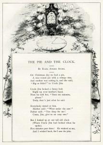 vintage christmas poem, pie and the clock, antique christmas poetry, old christmas illustration, eliza atkins stone