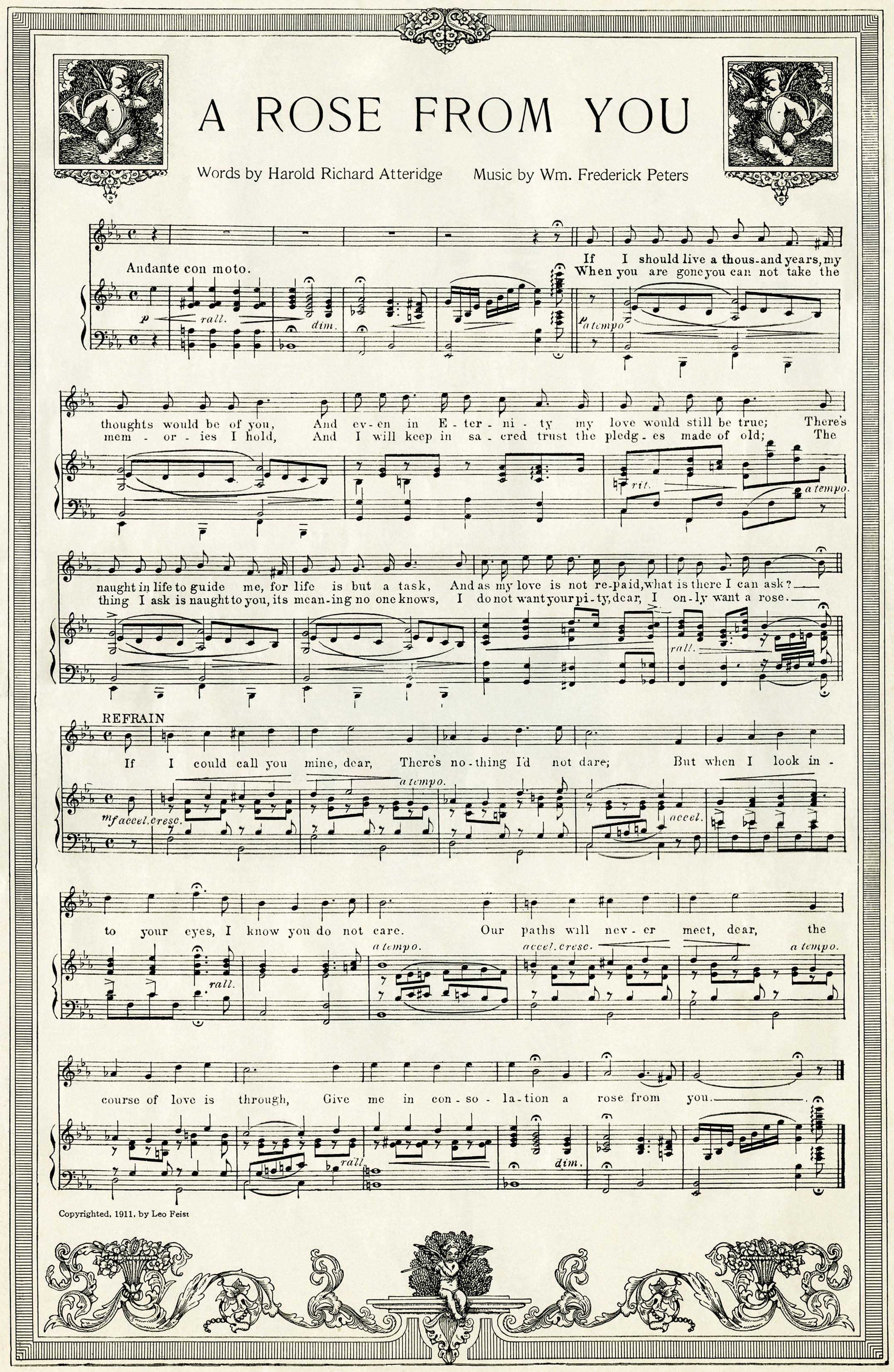 Free Vintage Image A Rose From You Sheet Music