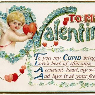 Free Vintage Image ~ To My Valentine Cupid Postcard