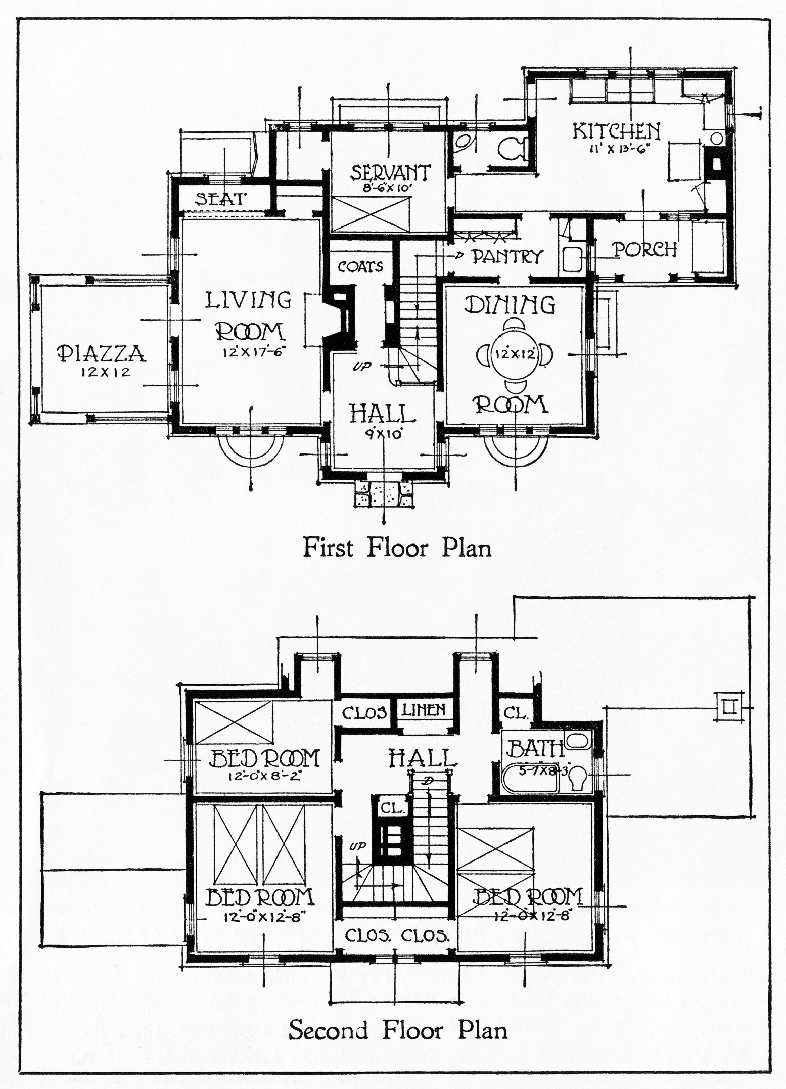Vintage House And Floor Plans Clip Art
