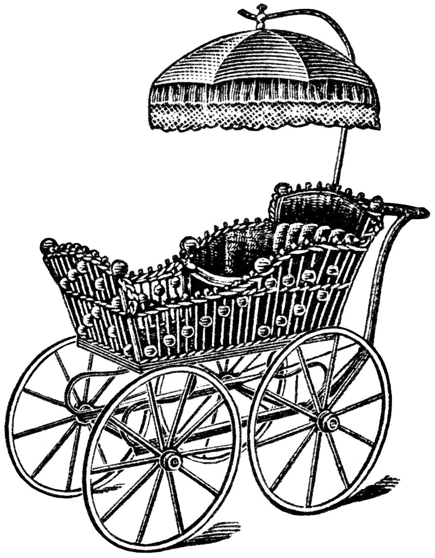 Elegant Baby Carriage Clip Art
