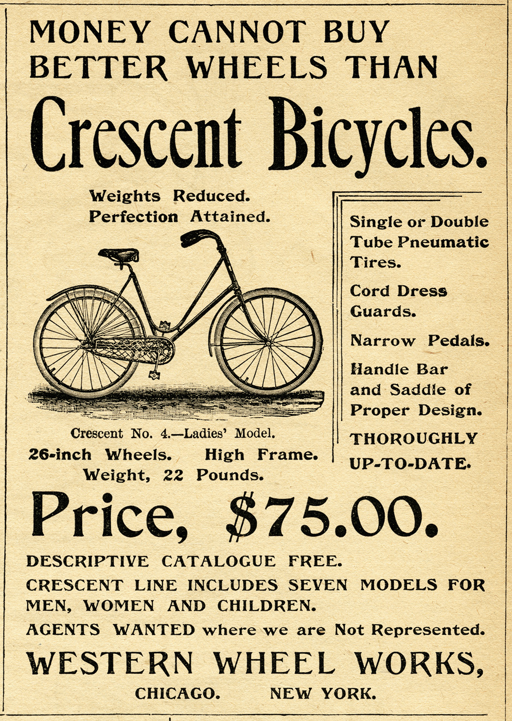 crescent bicycle magazine ad, old fashioned bike image, free vintage ...