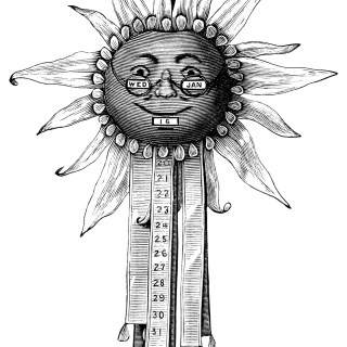 Free Vintage Image ~ Moon Face Fancy Calendar