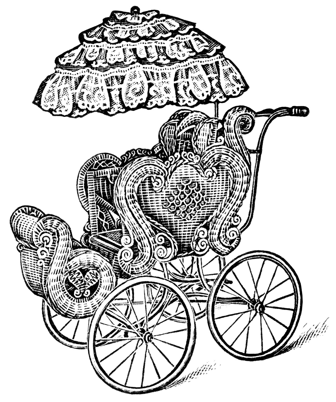 Baby Strollers Free Vintage Clip Art