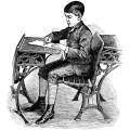 victorian school boy, vintage school clipart, old school image, free black and white clip art, boy sitting at desk