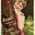 Victorian trading card, Dixon's stove polish ad, free vintage ephemera digital, old fashioned advertising card, Victorian lady image