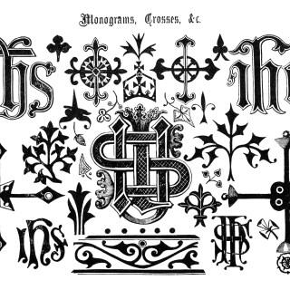 Page of Ornamental Monograms, Crosses, Etc