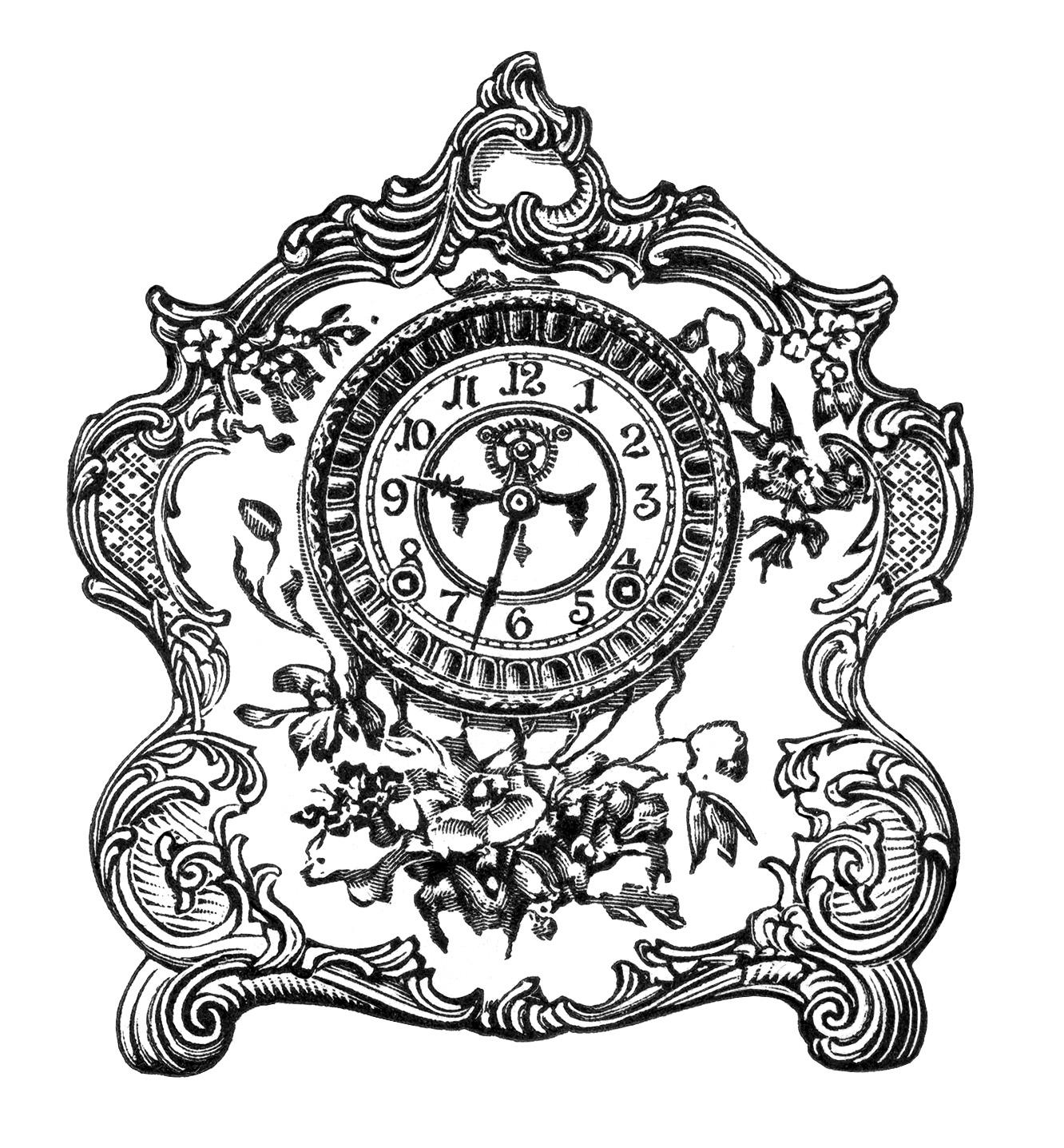 Free Vintage Image Porcelain Clock Clip Art   Old Design ...