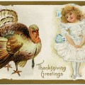 vintage thanksgiving postcard, turkey clipart, Victorian girl in pretty dress clip art, old fashioned holiday graphics, antique Thanksgiving greetings image