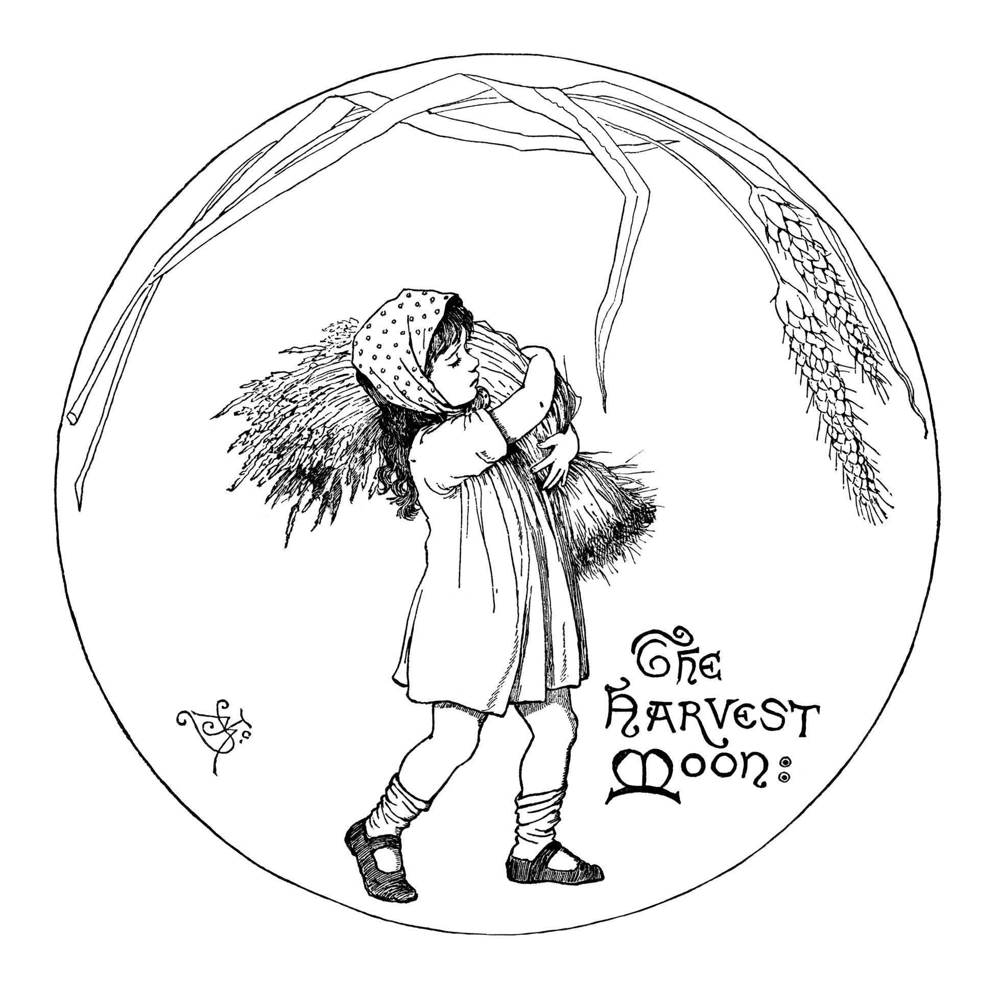 Harvest Moon Girl Carrying Wheat Clip Art