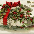 vintage christmas postcard, box of holly and berries, old fashioned christmas graphic, antique merry christmas card