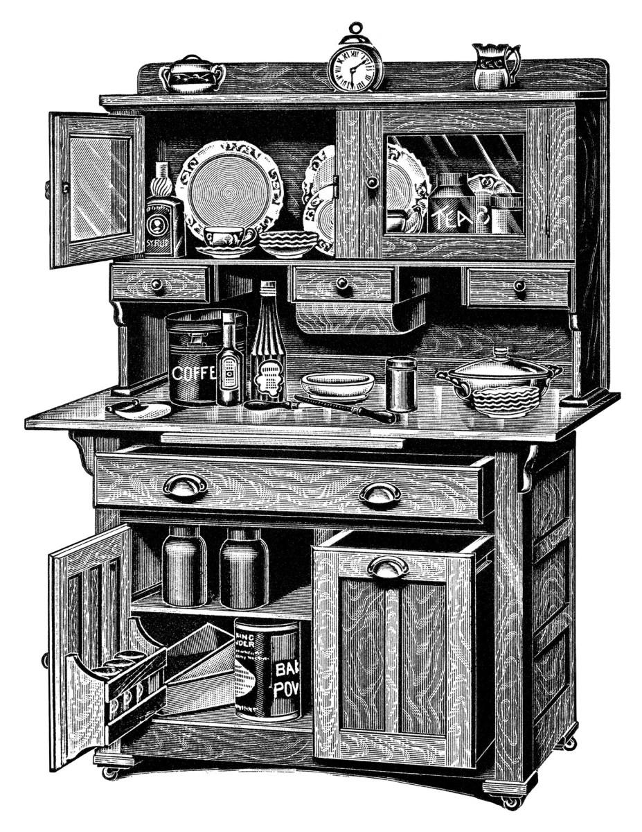 Kitchen Cabinets ~ Free Vintage Clip Art | Old Design Shop ...