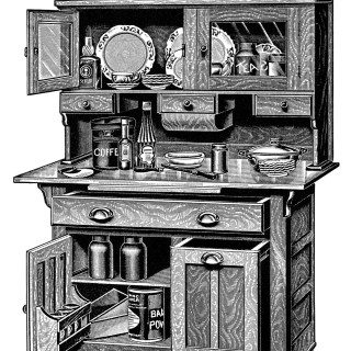 Kitchen Cabinets ~ Free Vintage Clip Art