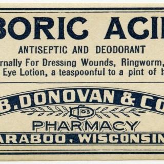 Vintage Boric Acid Pharmacy Label ~ Free Graphic