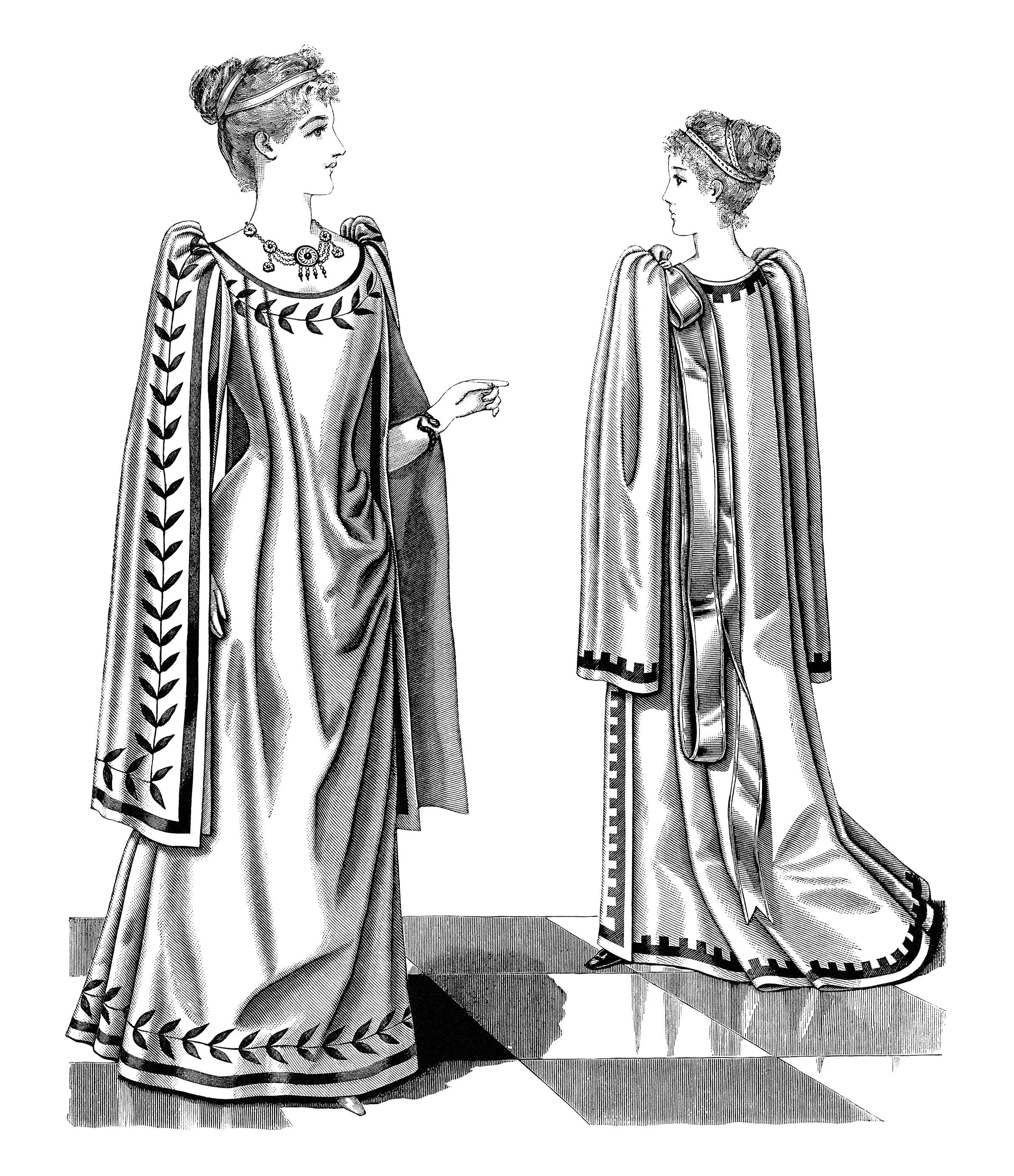 Victorian La S Greek Tea Gown Free Clip Art