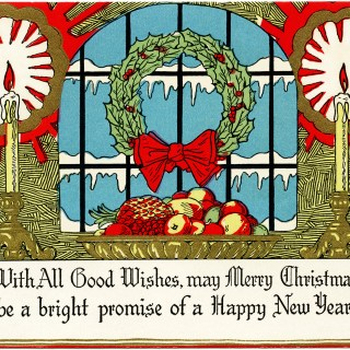 Wreath Candles Fruit Christmas Card ~ Free Vintage Image