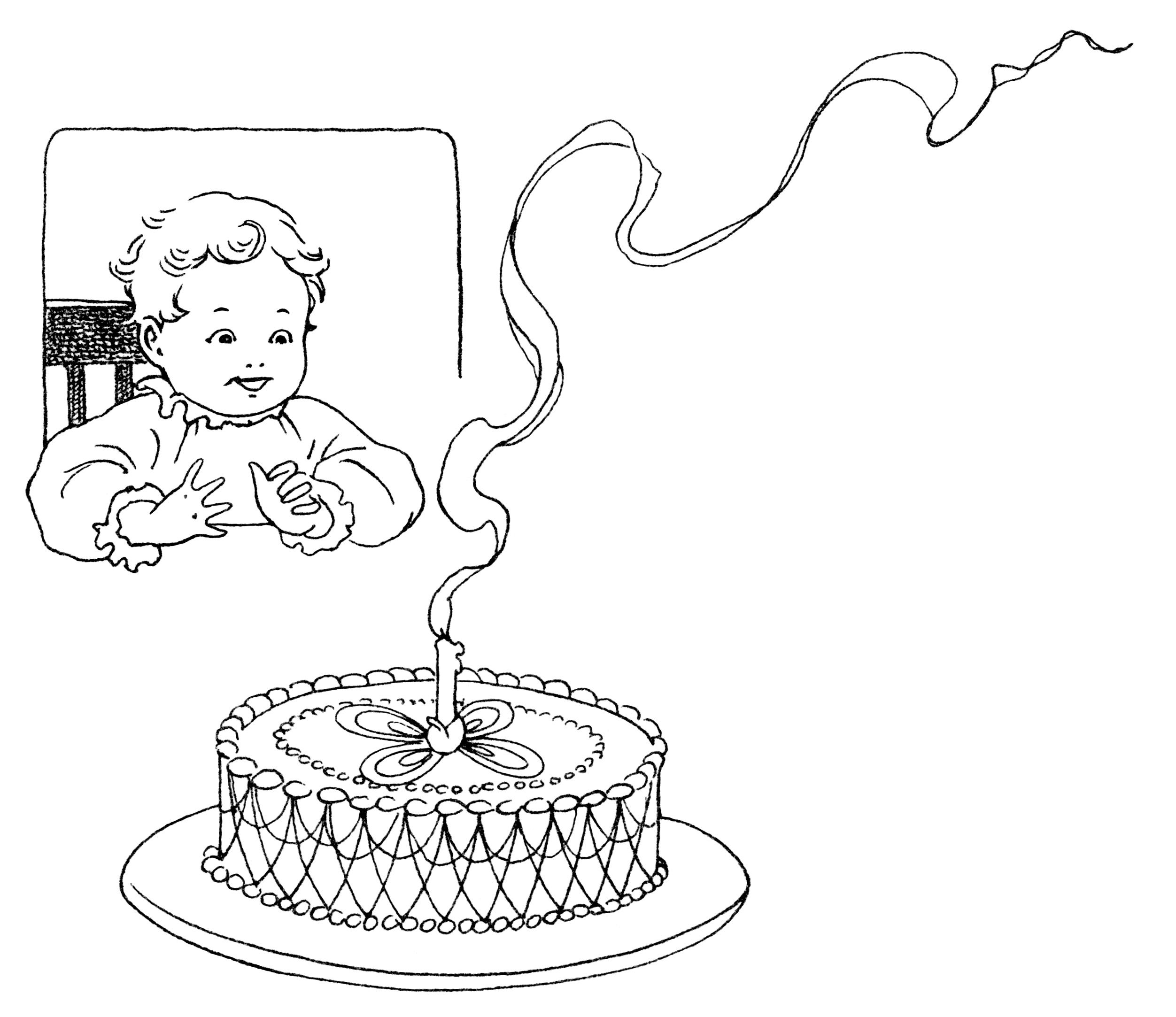 Baby S First Birthday Free Vintage Clip Art