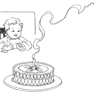 Baby's First Birthday ~ Free Vintage Clip Art