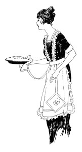Woman Carrying Pie Free Vintage Clip Art Old Design