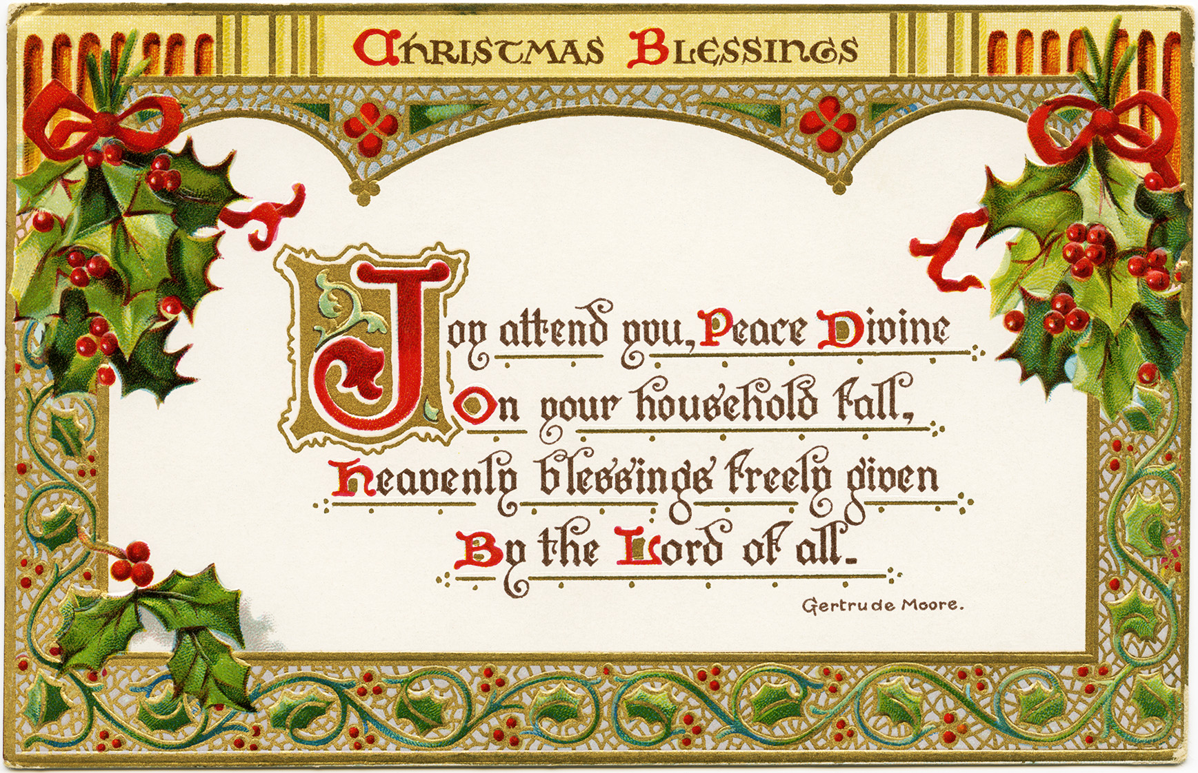 Christmas Blessings Free Vintage Postcard Graphic