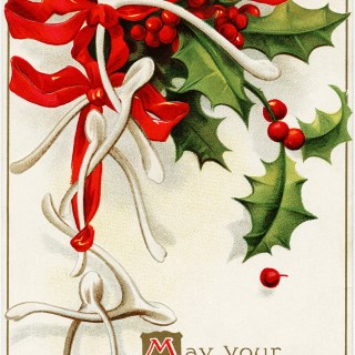 Free Vintage Clapsaddle Postcard Graphic ~ Wish Bones Bows and Holly
