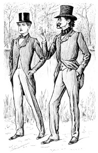 vintage men clip art, coattail top hat image, black and white clipart, vintage people illustration, old fashioned mans suit