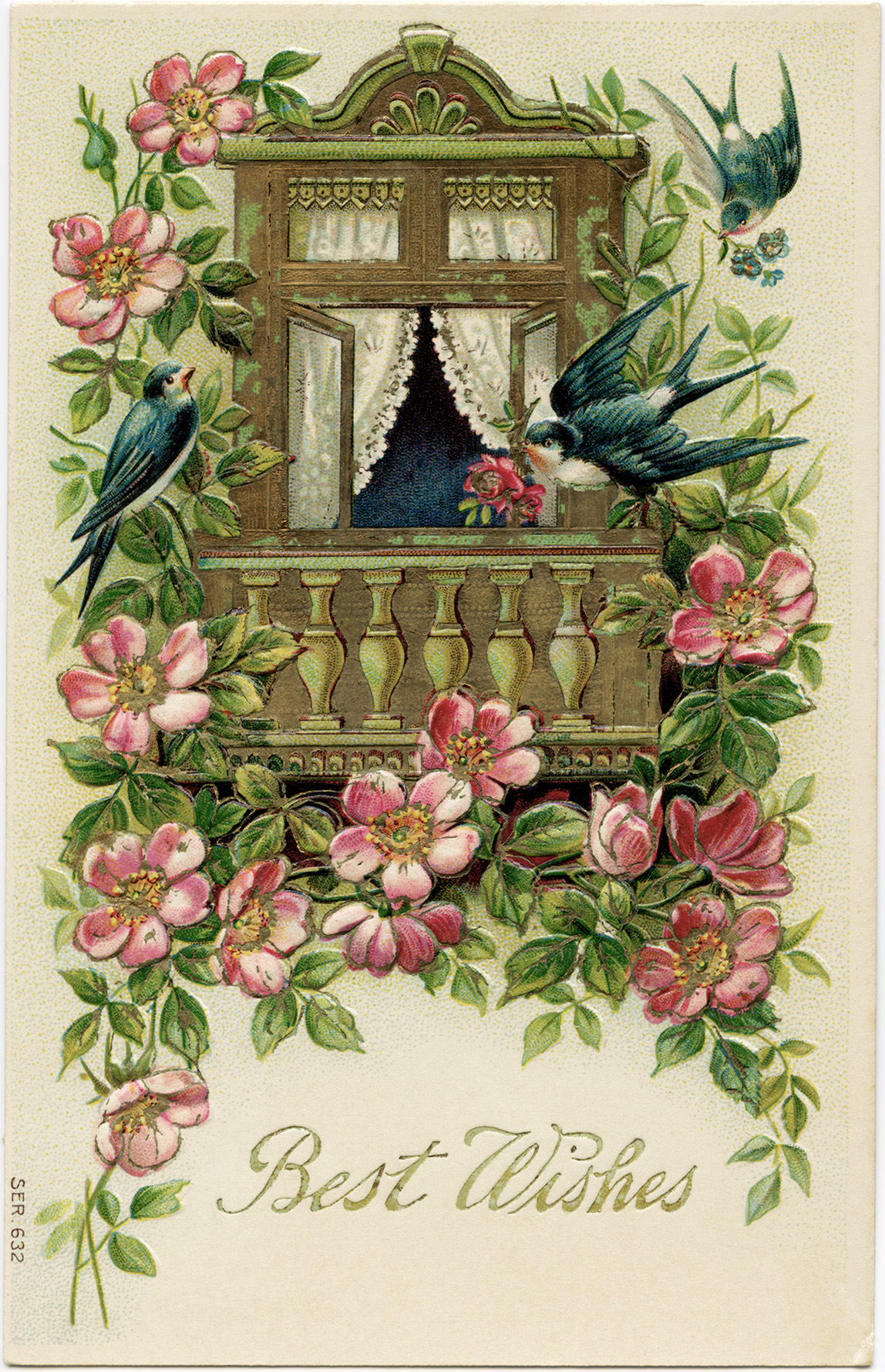 Birds And Flowers Postcard Free Vintage Image