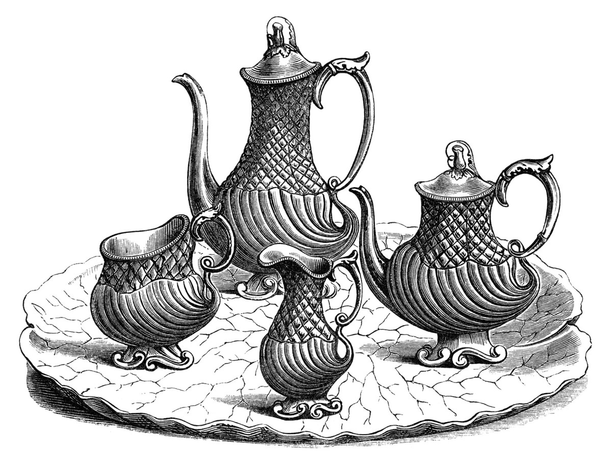 Tea and Coffee Service ~ Free Vintage Clip Art   Old ...