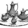 victorian tea set, vintage kitchen clip art, black and white clipart, antique coffee tea service, old fashioned tea party