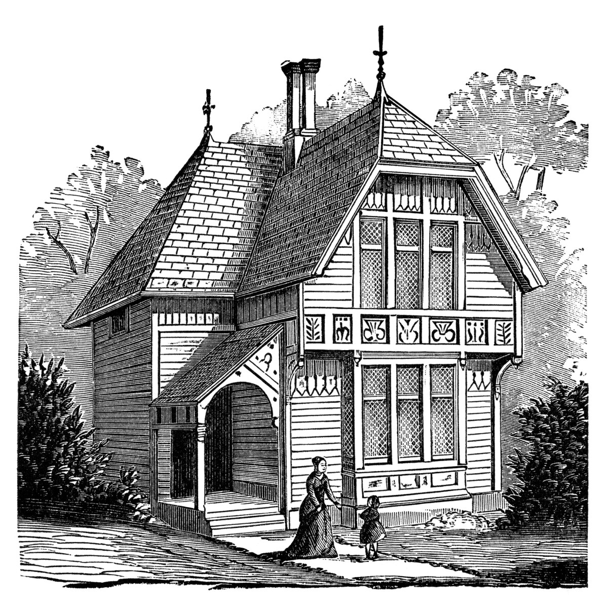 Two story victorian cottage free clip art image old for Double storey victorian homes