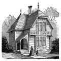 antique house illustration, black and white clipart, Victorian house image, vintage home clip art, old fashioned cottage