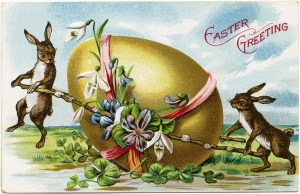 vintage Easter postcard, bunny rabbit egg card, old fashioned Easter image, bunnies push decorated egg, Easter rabbit clipart