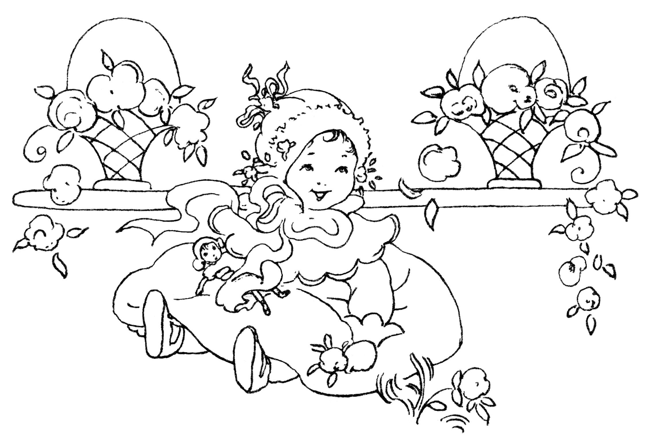 Happy Baby Girl Free Vintage Clip Art