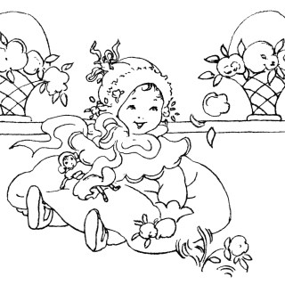 Happy Baby Girl ~ Free Vintage Clip Art