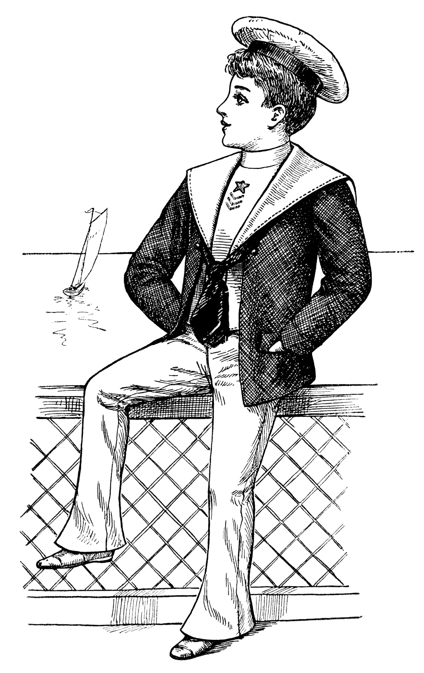 Victorian Boy Summer Fashion Free Vintage Clip Art
