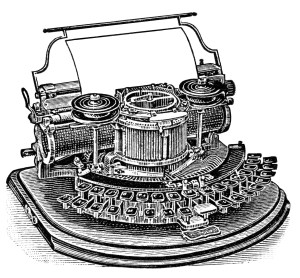 antique typewriter, black and white clipart, old magazine ad, vintage office clipart, Hammond typewriter illustration
