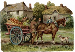 vintage farm clip art, printable farm horse illustration, horse drawn apple cart, farmer selling apples, Victorian country scene