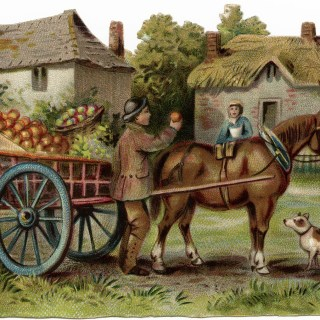 Free Victorian Clip Art ~ Horse Drawn Apple Cart Scene