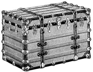 vintage trunk clipart, antique trunk illustration, battleship trunk image, black and white clip art free, vintage catalog ad