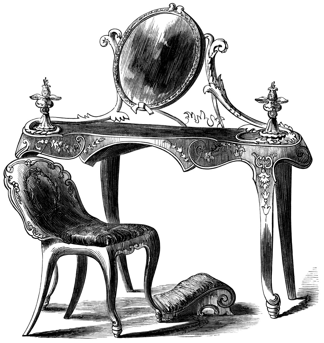 Victorian Dressing Table ~ Free Clip Art