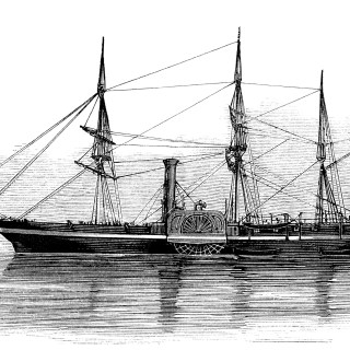 Paddle Frigate Ship ~ Free Vintage Clip Art