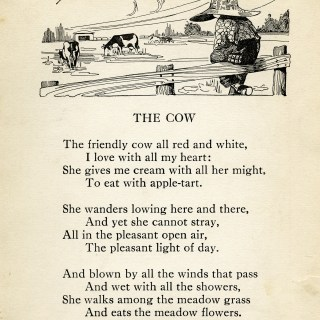 The Cow ~ Vintage Poem and Clip Art