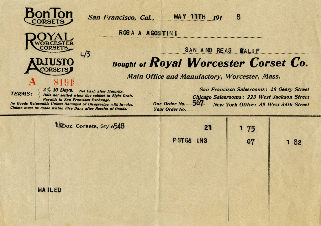 Royal Worcester Corset Invoice Free Vintage Image Old