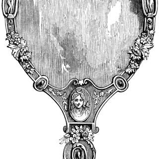 Victorian Hand Held Mirror ~ Free Clip Art
