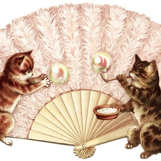 Kittens and Bubbles ~ Free Victorian Clip Art Image