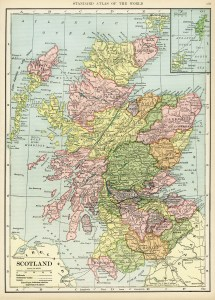 Scotland map, vintage map download, antique map, C. S. Hammond, history geography Scotland