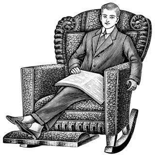 Comfortable Morris Rocker ~ Free Vintage Clip Art