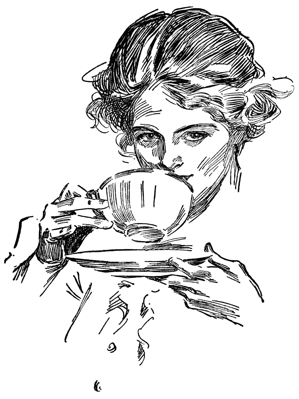 Lady Drinking Tea Free Vintage Clip Art