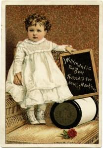 Victorian advertising card, Willimantic thread ad, vintage sewing clip art, vintage trade card, sewing thread ephemera